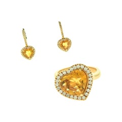Heart-Shaped Citrine Round Diamond Ring and Earring Set