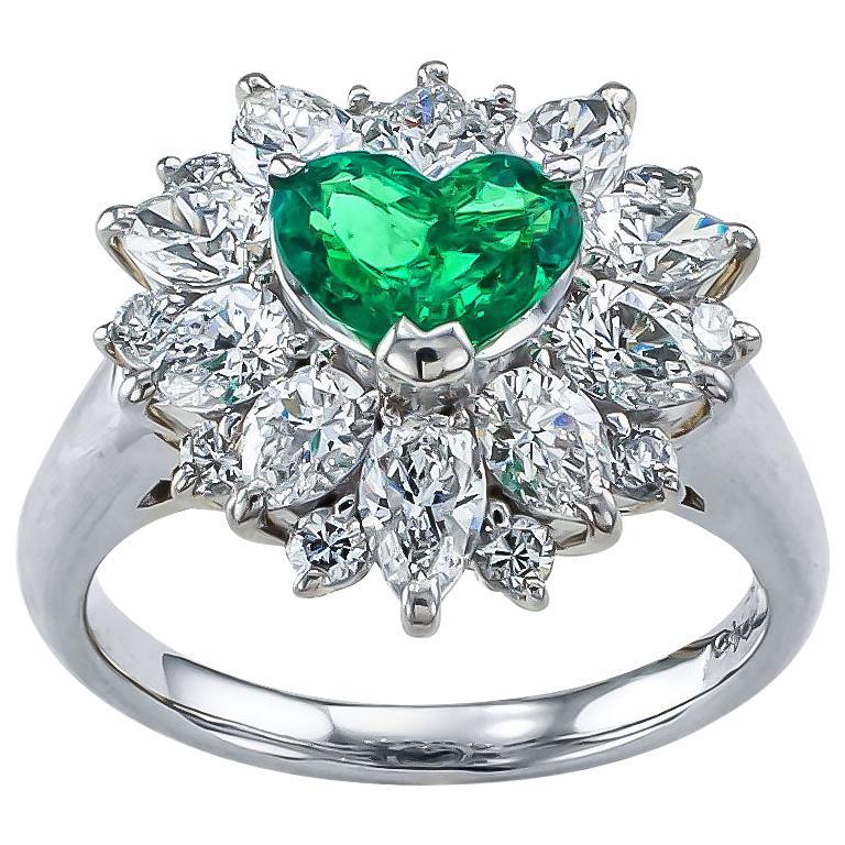 Heart Shaped Colombian Emerald Diamond Platinum Ring