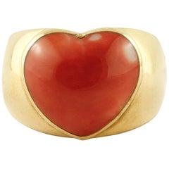 Heart Shaped Coral, 18 Karat Yellow Gold Ring