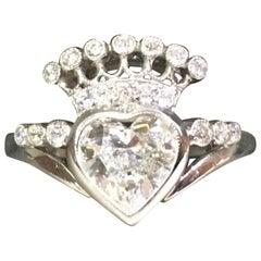 Heart Shaped Diamond Crown Ring in Platinum 1.00 Carat