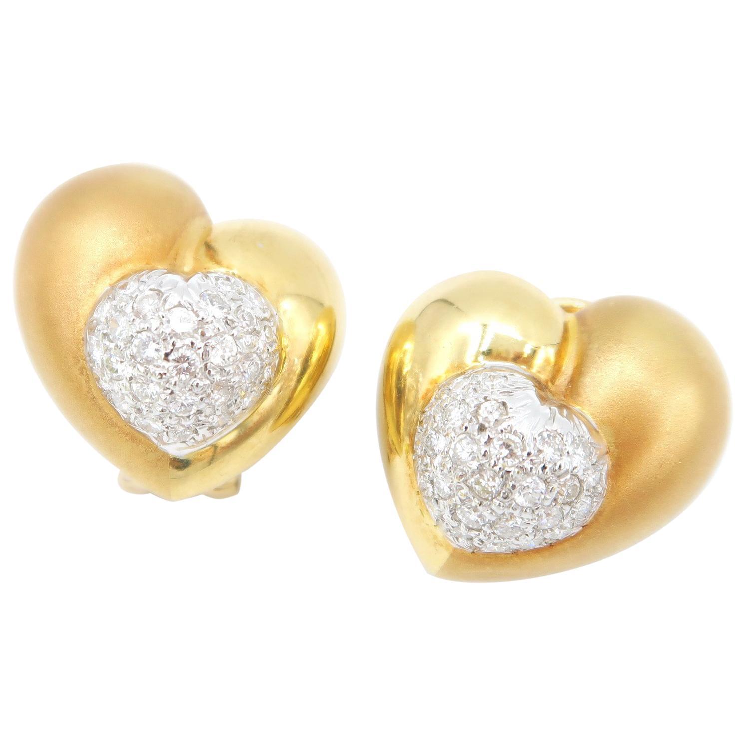 Heart Shaped Diamond Gold Clip on Pierced Earrings