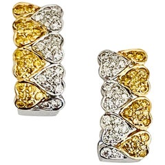 Heart Shaped Diamond Hoop Earrings