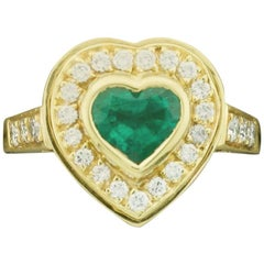 Heart Shaped Emerald and Diamond Ring in 18 Karat Yellow Gold