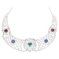 Heart-Shaped Emerald Sapphires Rubies Diamond Art Deco Platinum Necklace, 1920