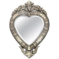 Heart Shaped Etched Glass Venetian Mirror