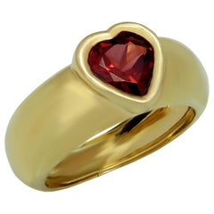 Heart-Shaped Garnet Yellow Gold Ring