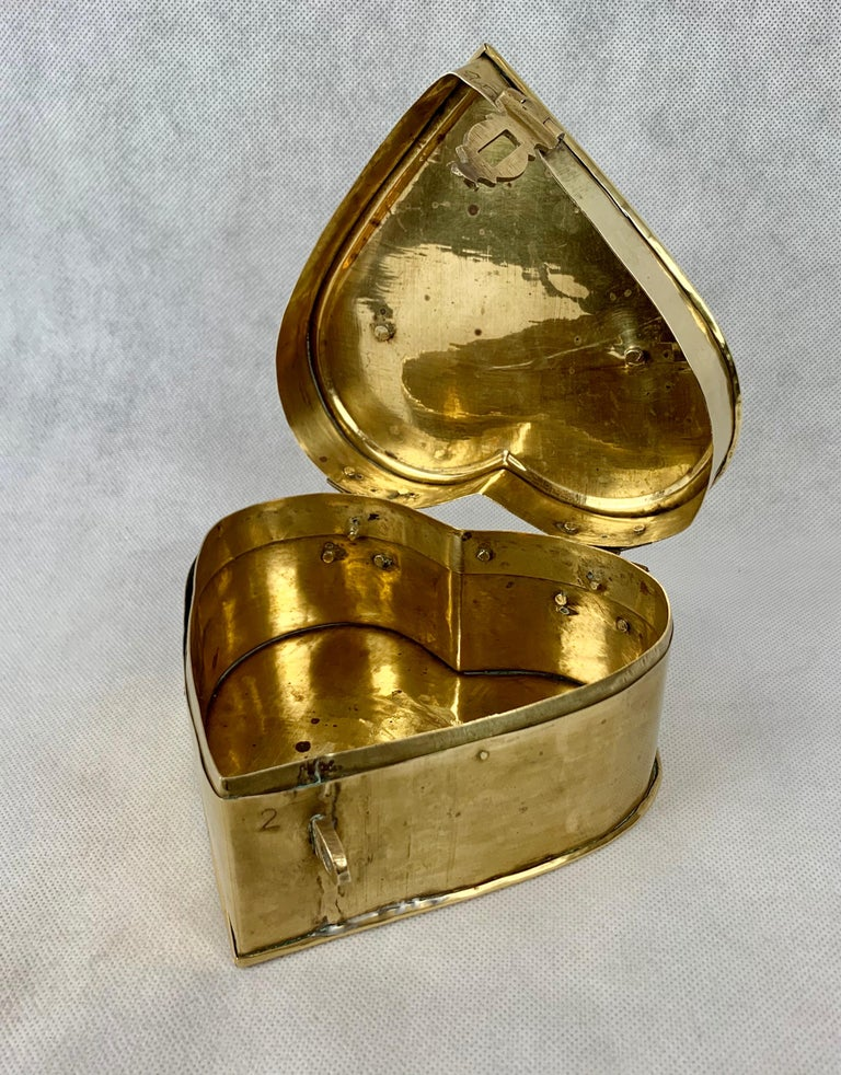 Romantic Brass Heart Shaped Vintage Hinged Box with Fold Down Handle