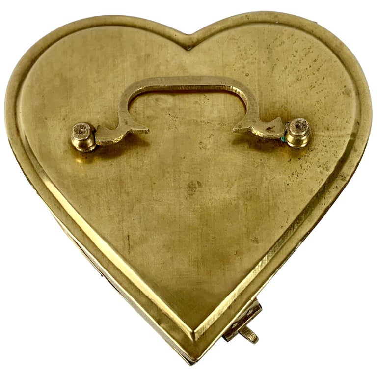 Brass Heart Shaped Vintage Hinged Box with Fold Down Handle