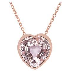 Heart Shaped Kunzite 30.86 Carat Rose Gold Necklace
