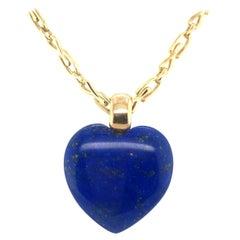 Heart-Shaped Lapis Lazuli Pendant with 18 Karat Yellow Gold Necklace