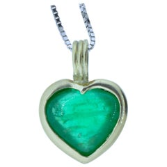 Heart Shaped Natural Emerald Necklace