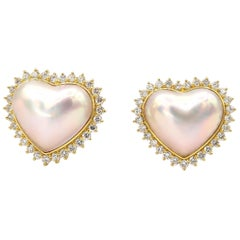 Heart Shaped Pearl Pierced Clip-On Diamond Earrings
