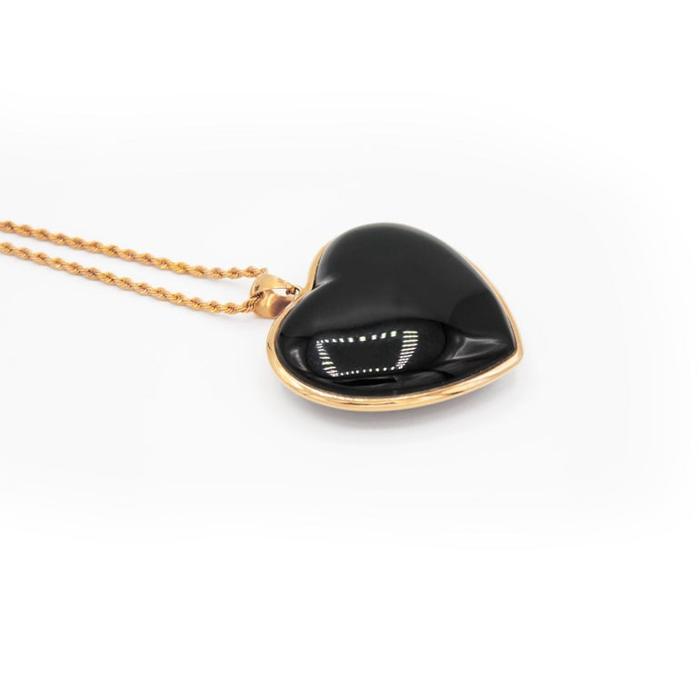 Artisan Heart Shaped Pendant in Blue Sapphires Pave and 18 Karat Pink Gold For Sale
