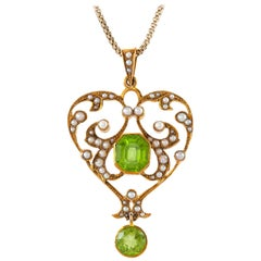 Heart-Shaped Pendant-Necklace with Pearls and Tourmalines
