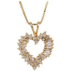 Heart Shaped Pendant with Diamonds on Chain 14 Karat in Stock