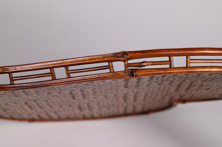 Japanese Heart Shaped Rattan and Bamboo Tray For Sale