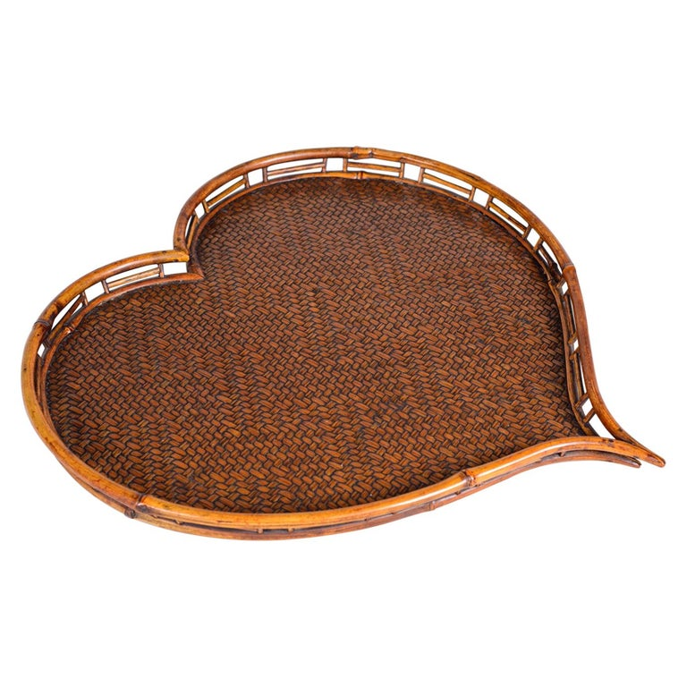Heart Shaped Rattan and Bamboo Tray For Sale