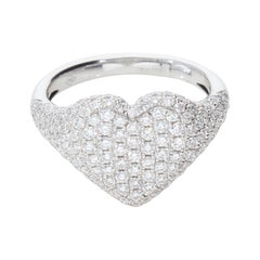 Heart-Shaped Ring with 1.75 Ct Diamond Pavè, 18 Kt White Gold Ring