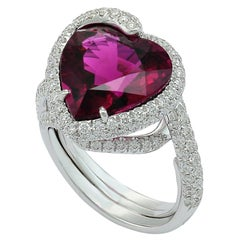 Heart Shaped Rubellite Tourmaline Diamond 18 Karat White Gold Ring