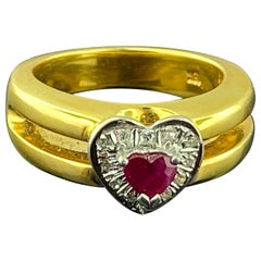 Heart Shaped Ruby and Diamond Ring in 18 Karat Yellow Gold