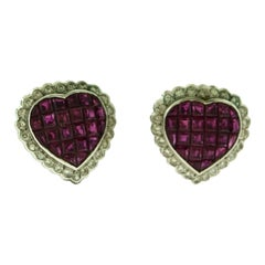 Heart-Shaped Ruby and Diamond White Gold Studs Earrings