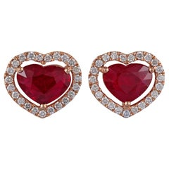 Heart Shaped Ruby Diamond Earring Studded in 18 Karat Rose Gold