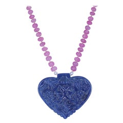 Heart-Shaped Sapphire Carving Necklace with Pink Sapphire Carved Beads, 14 Karat