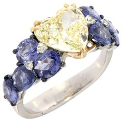Heart Shaped Solitaire Fancy Color Diamond 18 Karat Gold Ring
