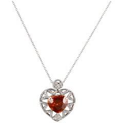 Heart-Shaped Spessartite Garnet Pendant