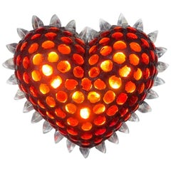 Heart Shaped Wall Light Sculpture Ruby Cabochon and Clear Glass by P. Campanella