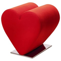 Heart Stool with Red or Black Fabric