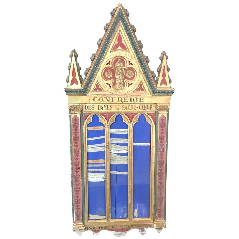 Heart Stopping Gothic Giltwood and Bas Relief Wall Art Found Object For Sale