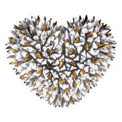 Heart Wall Light Clear Amber Glass Splinters on Metal by Peppino Campanella