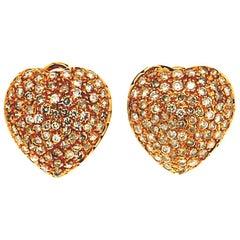 Hearts 18 Karat Yellow Gold Diamonds Stud Earrings