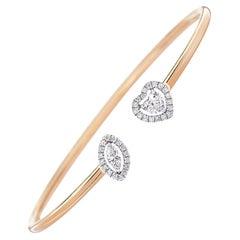 Hearts and Marquise Diamond Cuff Bracelet 0.76 Carat 18 Karat Yellow Gold