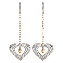 Hearts Earrings 18 Karat Gold and Pave Round Brilliant Cut Diamonds
