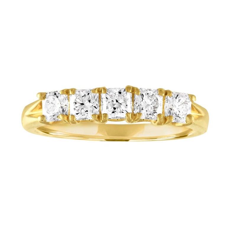 """Hearts On Fire"" 1.00 Carat Dream Diamond Five Stone Gold Ring"