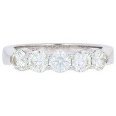 Hearts on Fire 1.00ctw Diamond Ring 18k Gold Five-Stone Wedding Anniversary Band