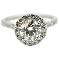 """Hearts on Fire"" 1.44 Carat Round Brilliant Diamond Engagement Platinum Ring"