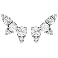 Hearts on Fire 18 Karat White Gold Aerial Diamond Ear Vine Earrings 1.4 Carat