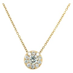 Hearts on Fire 18 Karat Yellow Gold 1 Carat Diamond Halo Fulfillment Necklace