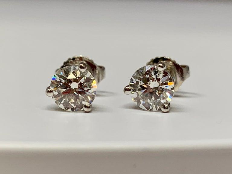 d3eff55e6 Round Cut Hearts on Fire 18 Karat White Gold 1.50 Carat Total Weight  Diamond Stud Earrings