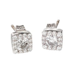 Hearts on Fire .72 Carat Dream Fulfilment White Gold Halo Stud Earrings