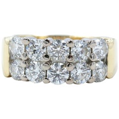 Hearts on Fire Enchantment 10 Diamond Double Row Band Ring 1.50 Carat 18K YG