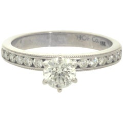 Hearts On Fire Estate Engagement Ring with 0.57 Carat I SI1 AGS Center