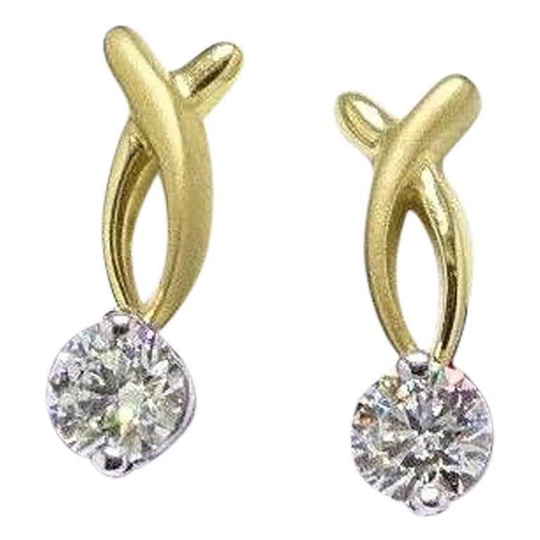 d99cf918f Hearts on Fire Flirtation Sandblast 1.00 Carat Diamond Earrings 18 Karat  Gold For Sale