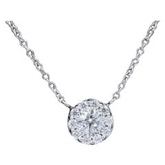 Hearts on Fire Round Diamonds Fulfillment Pendant Necklace 18 Karat White Gold