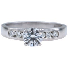 Hearts on Fire Seven Stone Diamond Engagement Ring Round 0.79 ct 18k White Gold