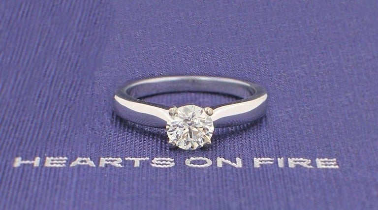 Round Cut Hearts on Fire Signature Diamond Engagement Ring Round 0.71 Carat 18 Karat Gold For Sale