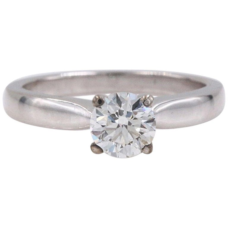 Hearts on Fire Signature Diamond Engagement Ring Round 0.71 Carat 18 Karat Gold For Sale